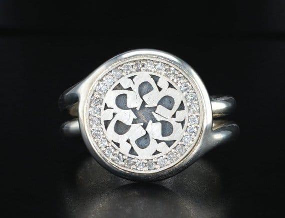 MEM Hebrew letter Sterling Silver with Diamonds Star of David Ring