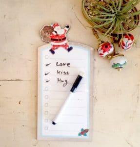 Tablero de tareas de color blanco Papá Noel
