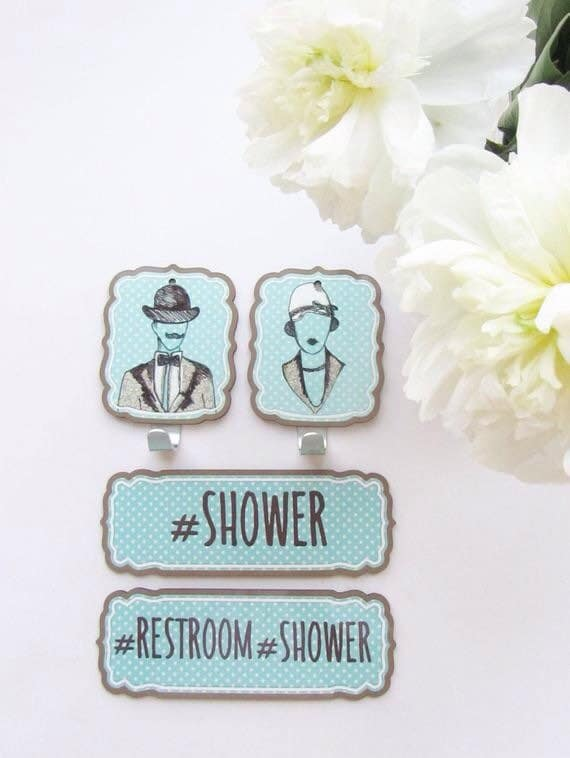 Wall towel hangers- his and hers with 2 door sign