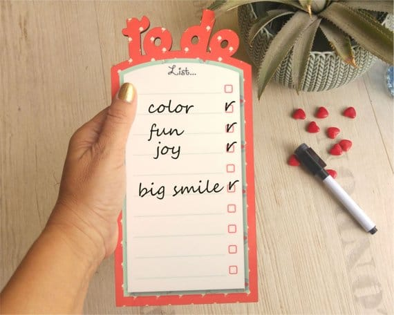 Coral border colored whiteboard with magnets, To do list board