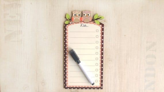 Brown, Smoked Purple and Salmon Pink border colored Owl  white board with magnets, To do list board