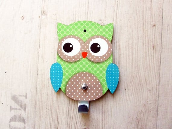 Turquoise and Apple Green Owl kids room décor