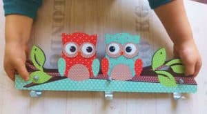 Mint and Coral Owl wall hanger
