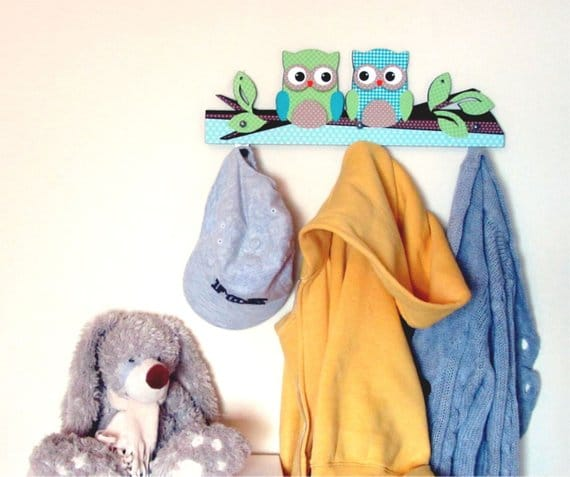 Turquoise and Apple Green Owl wall hanger