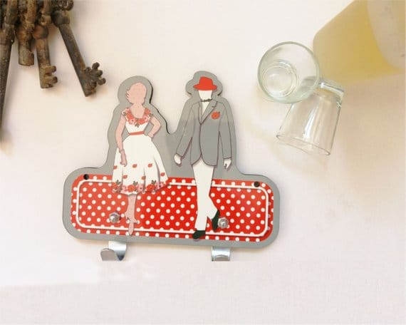 Grey, White and Red man and woman wall hanger