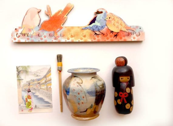 Japanese Textured Birds Key Rack