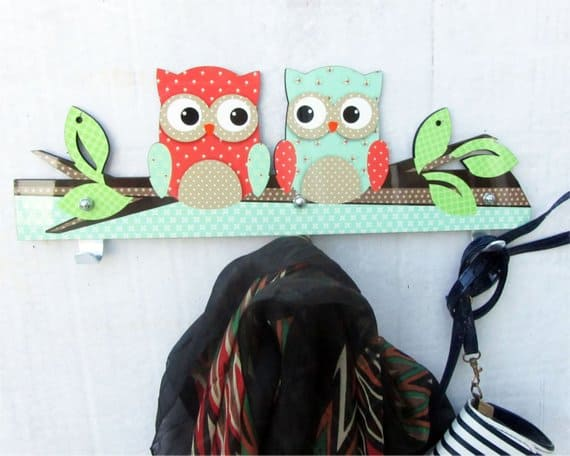 Blue and Beige with Old Map Texture two Owl Towel Rack