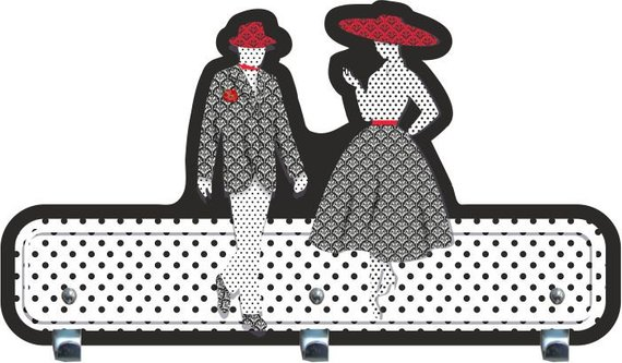 Black, White and Red man and woman wall hanger