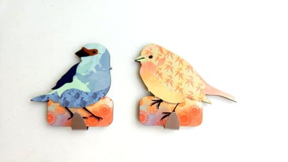 Peach, Blue and Japanese Textures two Birds Towel Rack