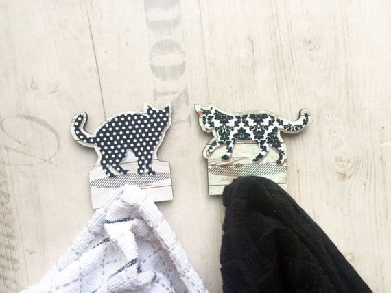 Black and White Textured Cats Towel Rack
