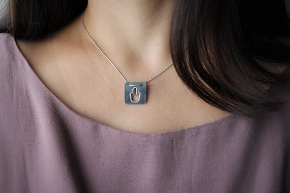Silver hamsa with patina Open-work hamsa Square judaica pendant Jewish Jewelry Sacred Jewelry kabbalah necklace Bat mitzvah gift From Israel