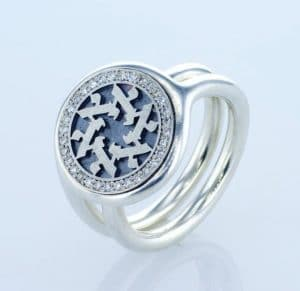 Alef Jewish letter Sterling Silver 0.32 cttw Diamonds Star of David Signet Ring with Hebrew letters
