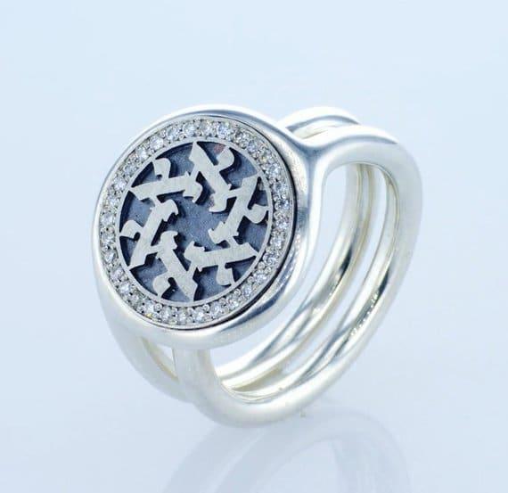 Anillo con La Letra Judía Alef de plata esterlina 0,32 cttw Diamantes Estrella con Sello de Estrella de David con letras hebreas