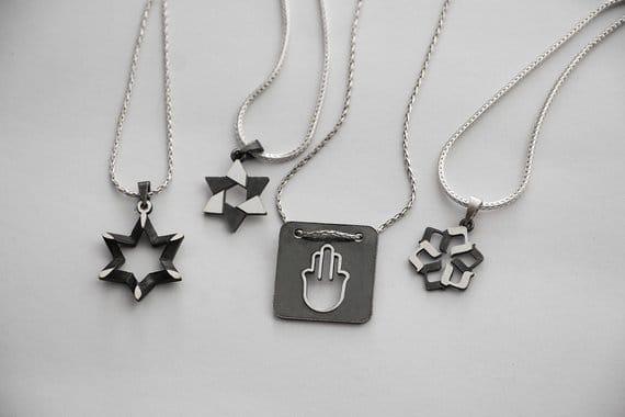 2 sides Sharp Star of David Magen David necklace Silver Judaica pendant