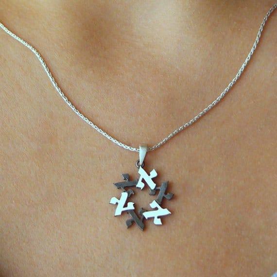 ALEF 18k Oro Blanco Maguen David Estrella de David Estrella Judía