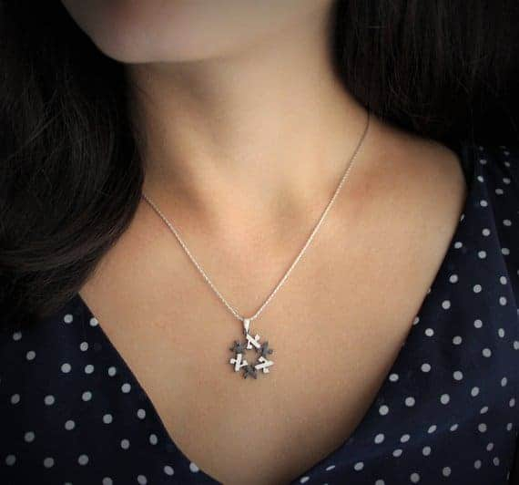 ALEF 18k white Gold magen david Star of david Jewish star