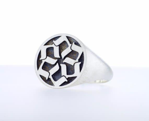 Jewish letter Sterling Silver Star of David Signet Ring