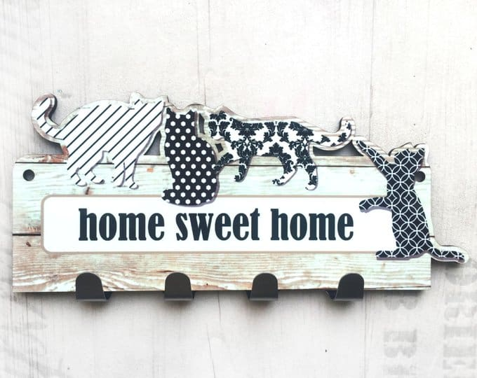Black and White Cats Key Rack