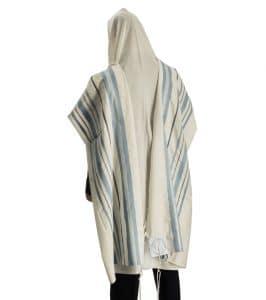 Hermon Talit Gadol azul claro y plata