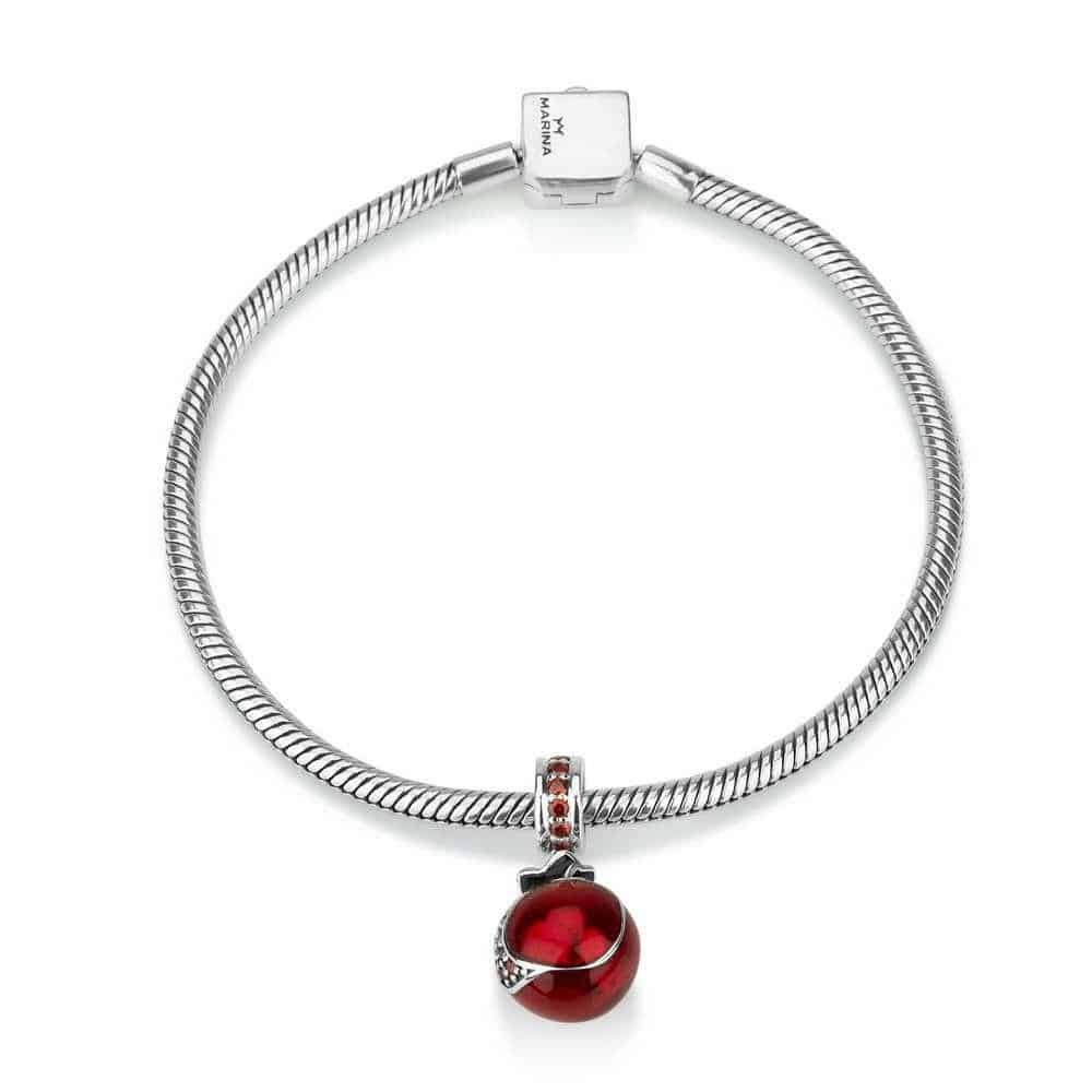 Sterling Silver 925 Garnet Pomegranate Hang Bead Charm