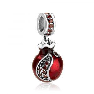 Sterling Silver 925 Garnet Pomegranate Hang Bead Charm