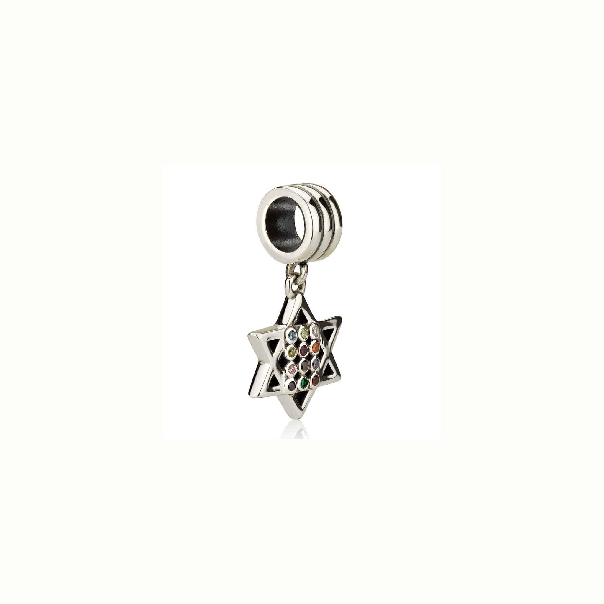 Sterling Silver 925 Mix of stones Hoshen Hang Bead Charm