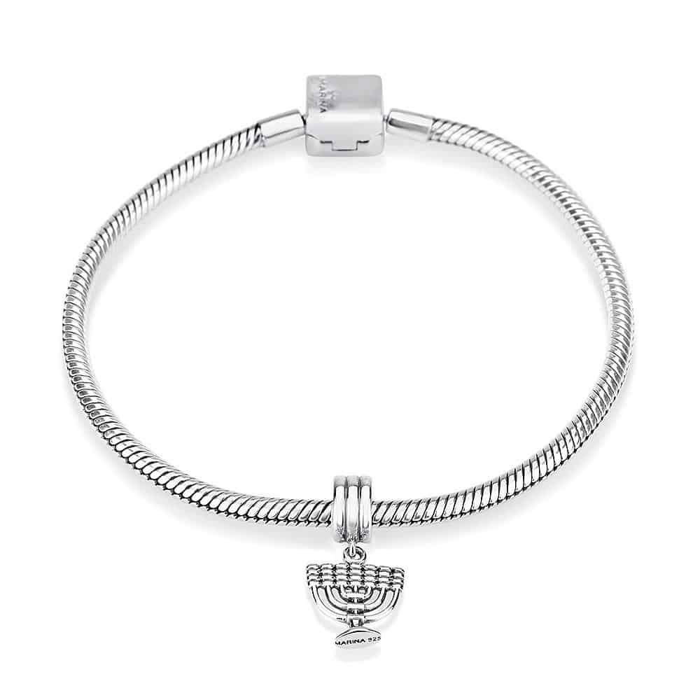 Sterling Silver 925 Menorah Hang Bead Charm