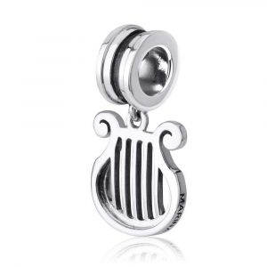 Sterling Silver 925 Kinor of David Hang Bead Charm