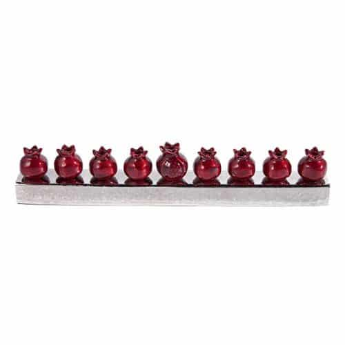 Hanukkah Menorah - Pomegranates - Red