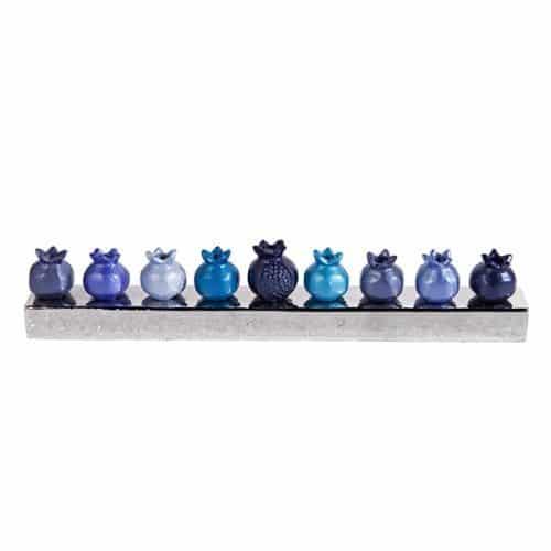 Hanukkah Menorah - Pomegranates - Blue