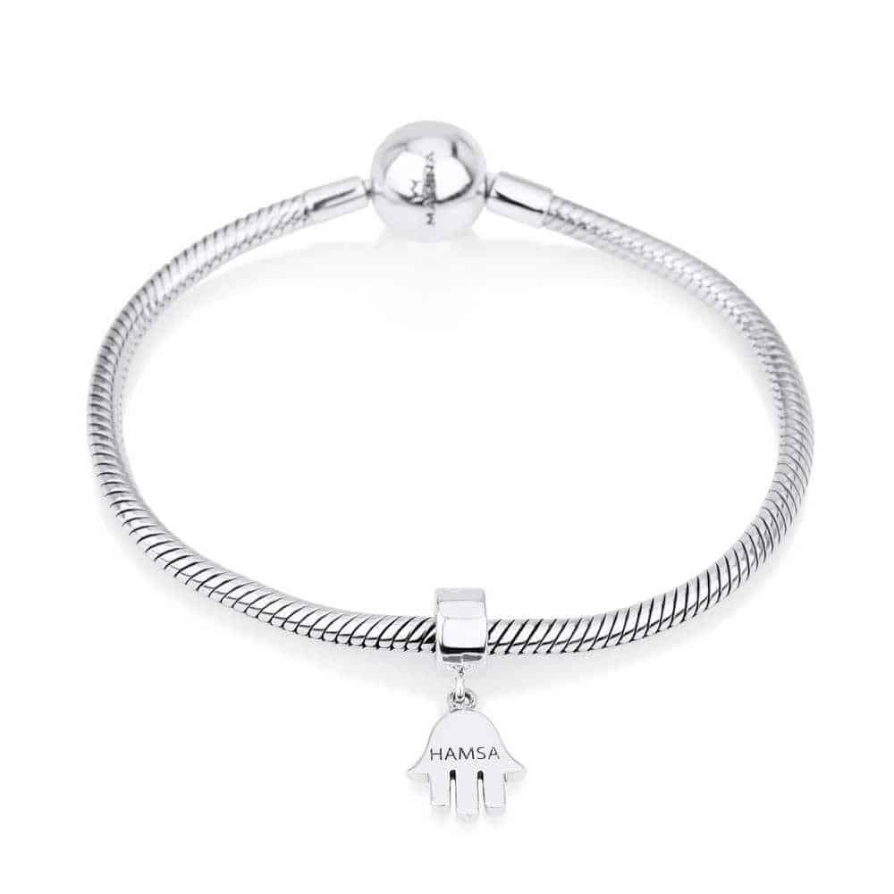 Sterling Silver 925 Hamsa Hang Bead Charm