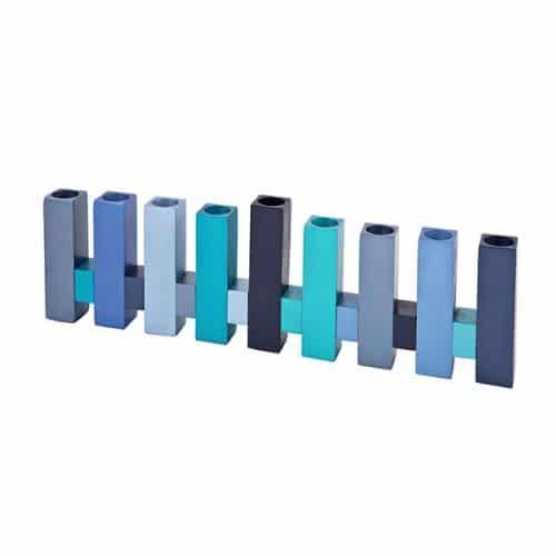 Hanukkah Menorah - Standing Square - Blue