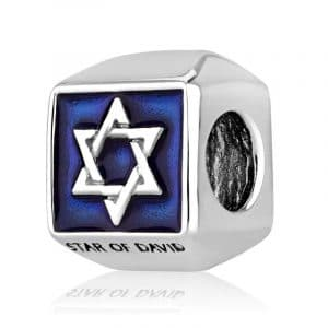 Marina Jewelry Geometric Star of David Blue Enamel Sterling Silver Charm