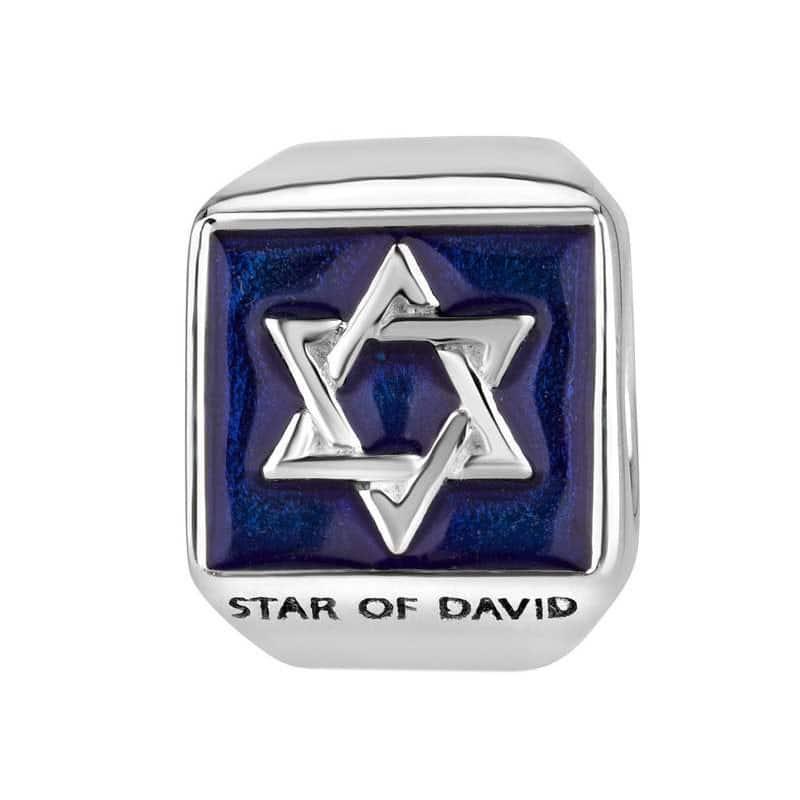 Joyería Marina Abalorio Colgador Estrella de David geométricas Esmalte azul Plata esterlina