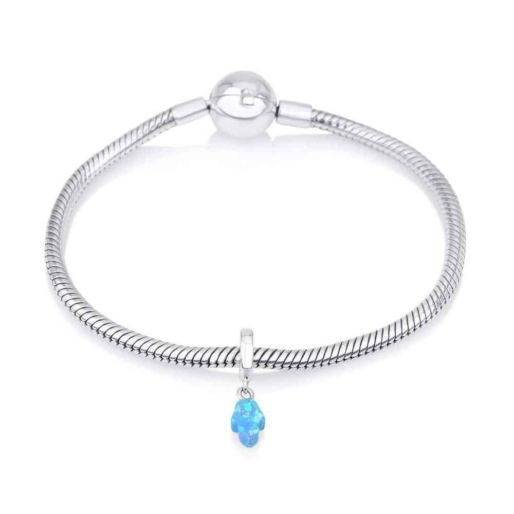 Sterling Silver 925 Blue Opal Hamsa Hang Bead Charm