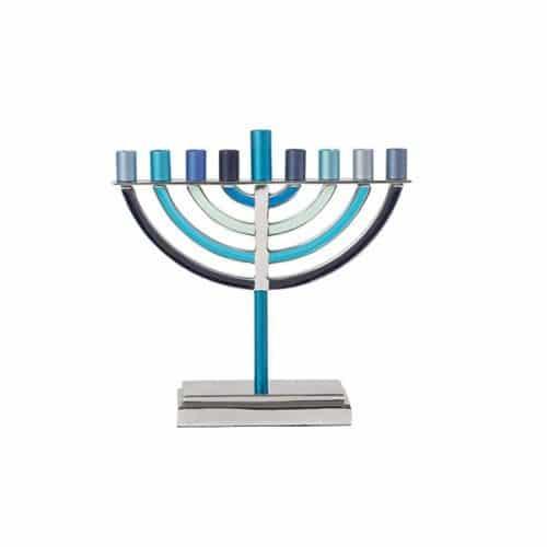 Menorah clásica de Hanukkah Grande- Azul