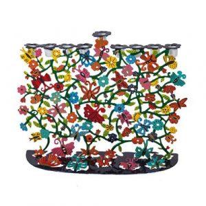 Hanukkah Menorah - Corte láser pintado - Mariposas