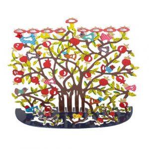 Hanukkah Menorah - Laser Cut-Hand Painted - Pomegranates
