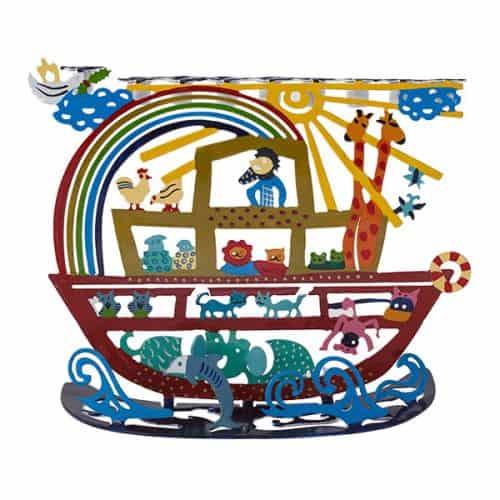 Hanukkah Menorah - Laser Cut-Hand Painted - Noah's Ark