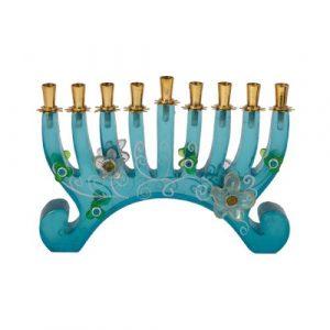 Hanukkah Menorah - Polyester - Turquoise