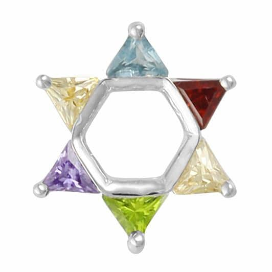 Sterling Silver 925 Mix of stones Star of david Bead Charm