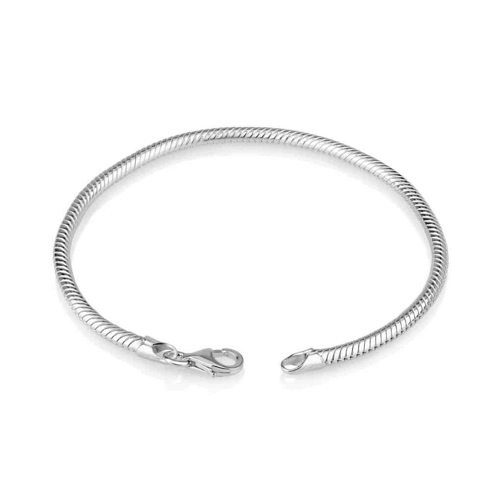 Sterling Silver Charm Bracelet  - Snake Chain with Standard Clasp