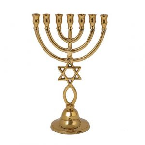 Bronze Menorah 24cm -Magen David & fish