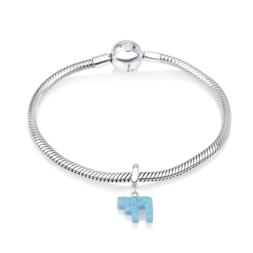 Sterling Silver 925 Blue Opal Chai Hang Bead Charm