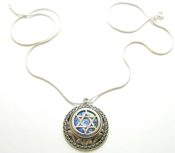 925 Sterling Silver Roman Glass Star of David Pendant necklace