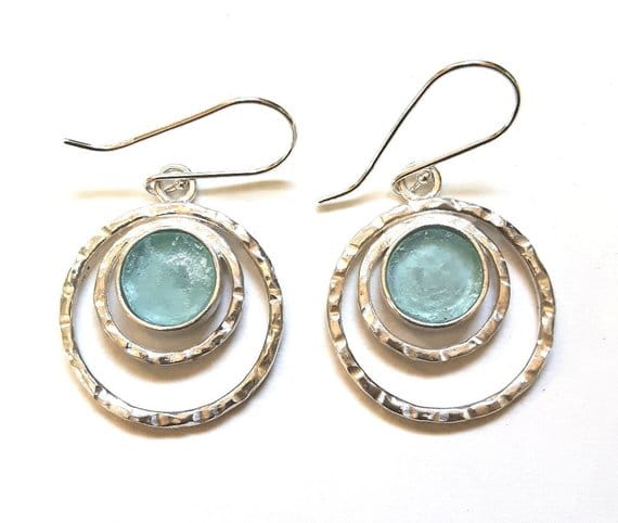 Hammered Bluish Roman Glass 925 Sterling Silver Earrings