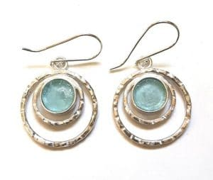 Hammered Bluish Roman Glass 925 Sterling Silver Earrings