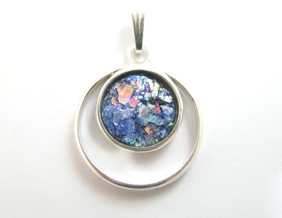 925 Silver Roman Colorful Glass Pendant Necklace