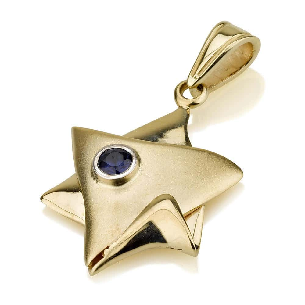 14K Gold Star of David Pendant with Sapphire Stone