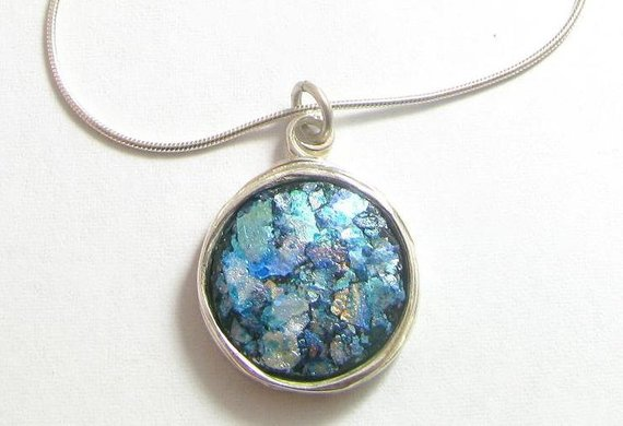 925 Silver Roman Glass Wire Pendant Necklace
